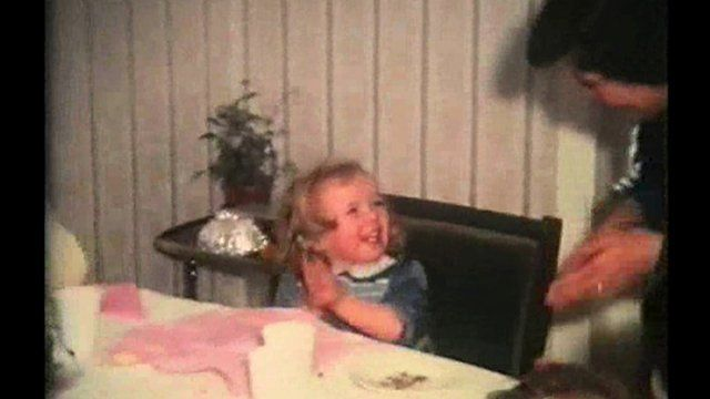 Old picture of child celebrating birthday