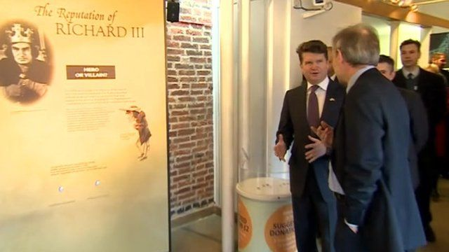 Matthew Barzun visiting the exhibition