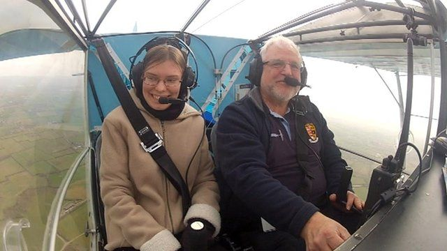 Alice McEllin of Stroud High School in the microlight