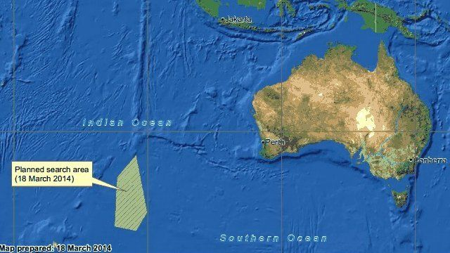 A map of the Australian search operation for Malaysia Airlines aircraft
