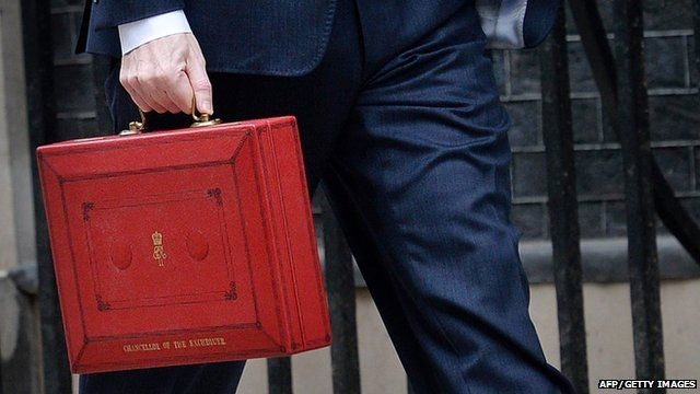 George Osborne carries the budget box outside Downing Street