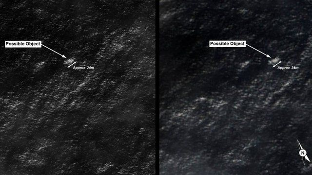 Satellite imagery provided by DigitalGlobe via the Australian Maritime Safety Authority shows possible object