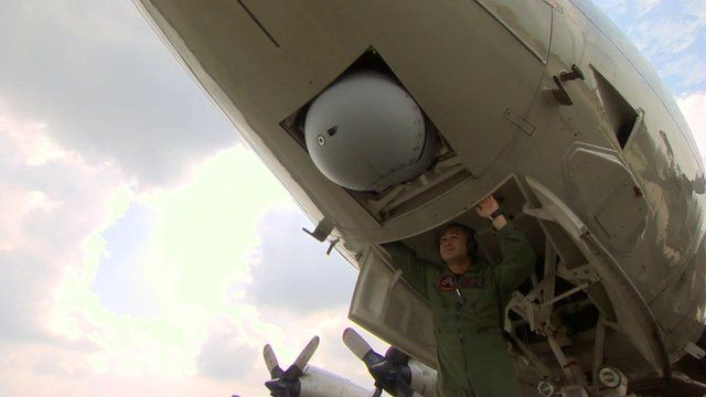 Camera under belly of P-3 Orion aircraft
