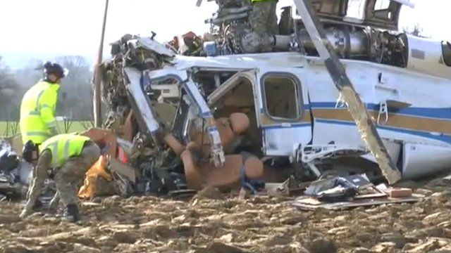 Wreckage of crashed helicopter