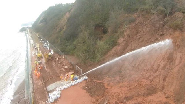 Controlled landslip at Dawlish
