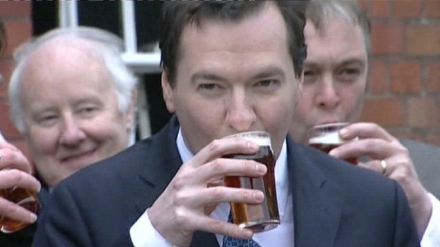 George Osborne drinking beer
