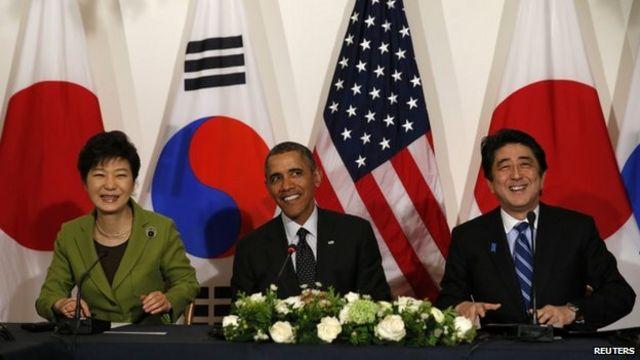 US brings together Japan and S Korea leaders after rift