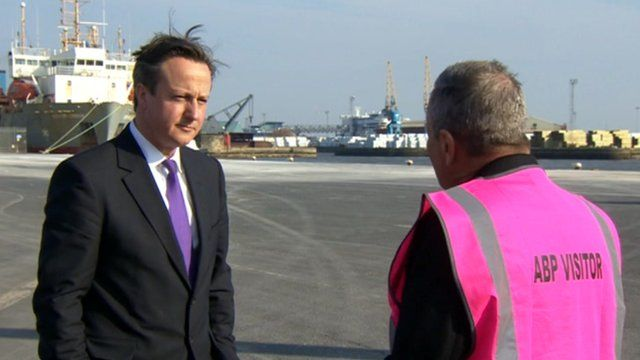 Prime Minister David Cameron speaks to Peter Levy
