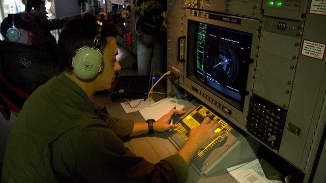 Electronics analyst on board Australian Air Force aircraft observes a radar image