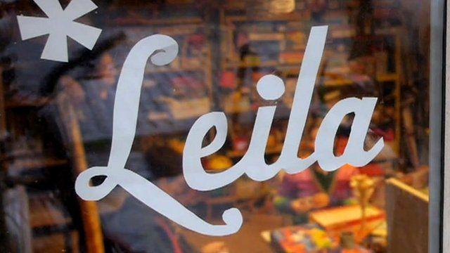 Leila shop sign