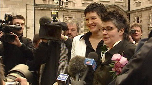 Grainne Close and Shannon Sickles celebrate their civil partnership ceremony, the first in the UK
