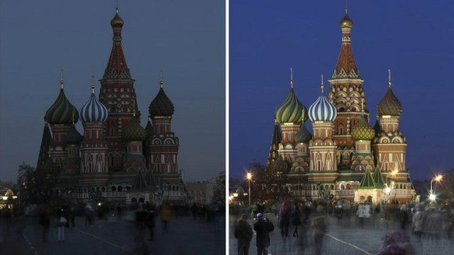 A combination picture shows St. Basil' Cathedral before (R) and during Earth Hour in Moscow March 29, 2014