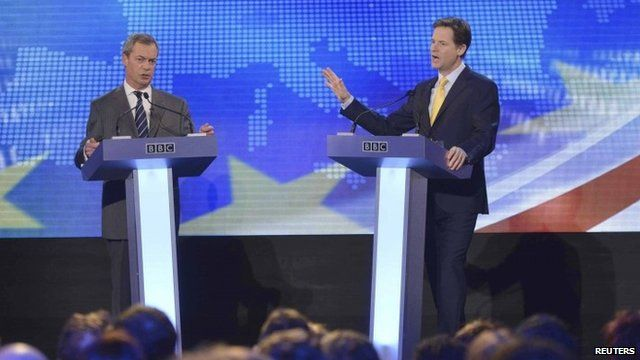Nigel Farage (L) and Nick Clegg at Wednesday's debate