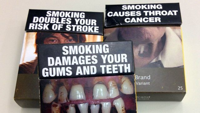 Non-branded cigarette packaging