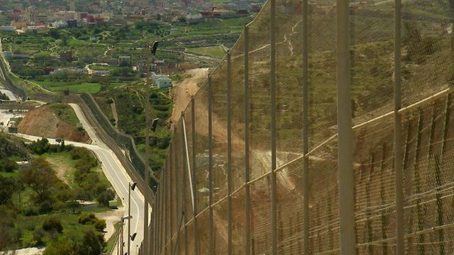 Moroccan Spanish border fence