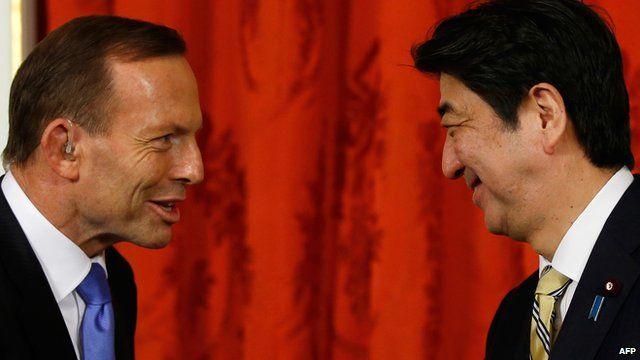 Australian Prime Minister Tony Abbott and Japanese Prime Minister Shinzo Abe.