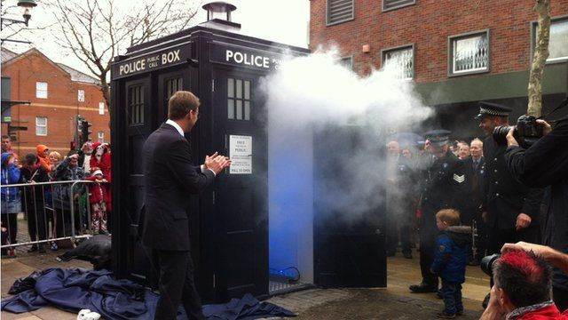 The police box after the unveiling