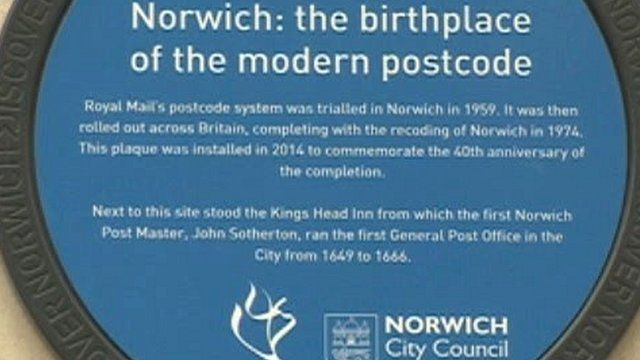 Plaque marks Norwich as birthplace of the modern postcode