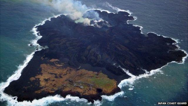 Volcanic islands merge in Pacific Ocean