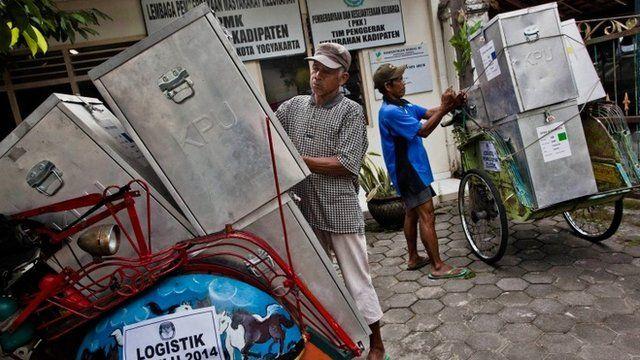 Pedicab drivers load up ballot boxes