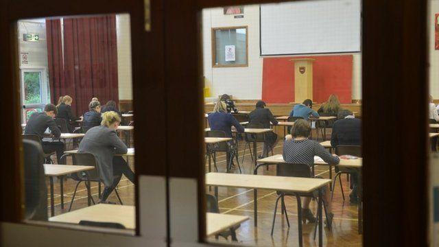 Pupils sitting A Level exams