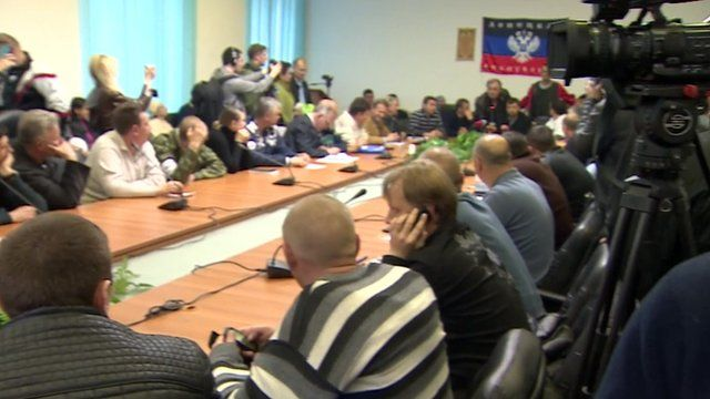 Pro-Russia activists in Donetsk