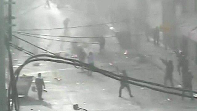 CCTV shots of the violence