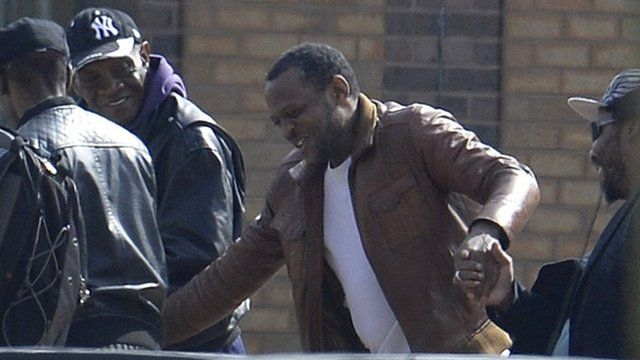 Nicholas Jacobs leaving Belmarsh prison