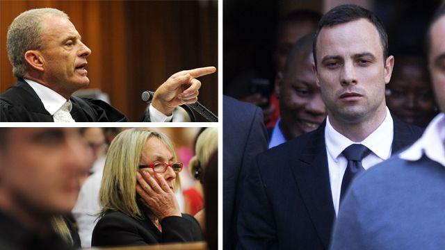 Clockwise from top left - South Africa State Prosecutor Gerrie Nel, Oscar Pistorius, and Reeva Steenkamp's mother June