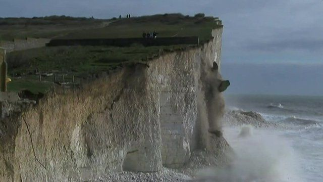 Cliff falls into the sea in Sussex