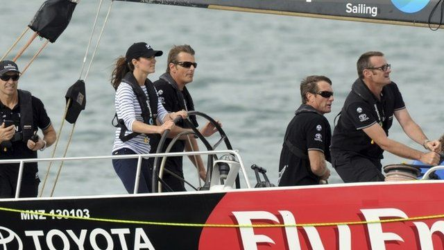 The Duchess of Cambridge at the helm of the yacht