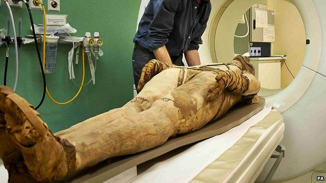Mummy having a CT scan