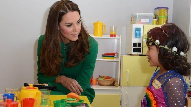 "The Duchess of Cambridge meets Bailey Rupe, six, during her visit to the Rainbow Place Children""s Hospice, Hamilton, New Zealand"