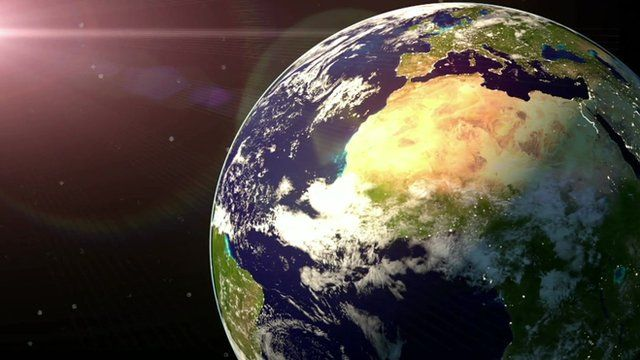 Graphic showing Earth from space