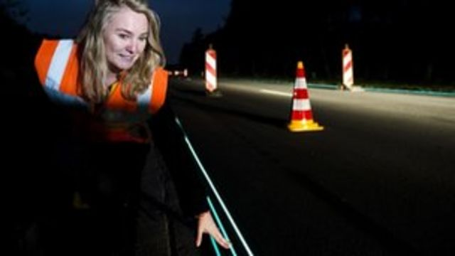 Glow in the dark road unveiled in the Netherlands