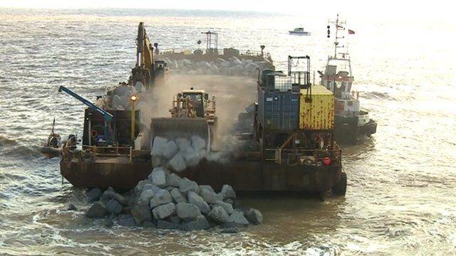 Granite arriving at Hopton beach