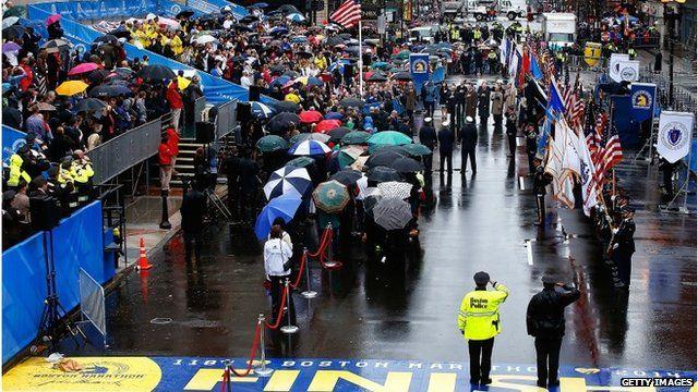 Flag raised at Boston Marathon bombing memorial