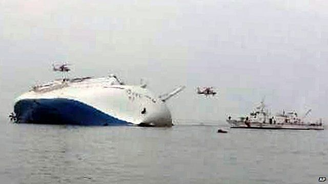 South Korea rescue helicopters fly over to rescue passengers from passenger ship Sewol