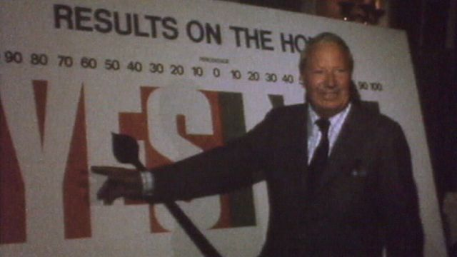 Edward Heath celebrates victory for the 'Yes' campaign in the EEC referendum of 1975