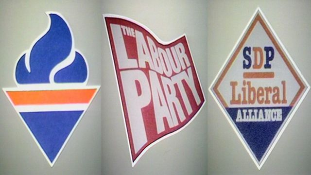 Emblems of the Conservative, Labour and SDP Liberal Alliance parties in 1983