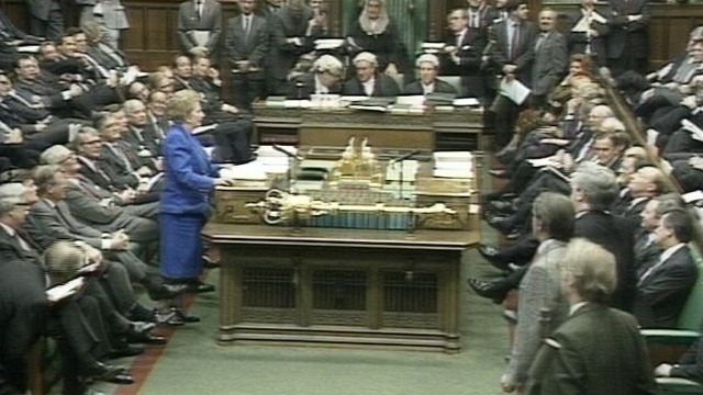 Margaret Thatcher steps up to the despatch box in the House of Commons