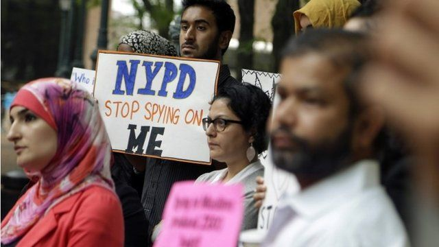 Muslim protesters demonstrating against spying programme
