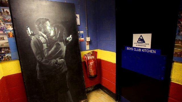 The Banksy standing inside Bristol Boys 'Club
