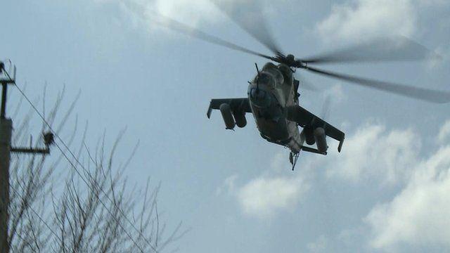 Ukrainian attack helicopter flies over Kramatorsk