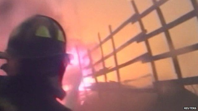 Fire scene captured on firefighter helmet camera