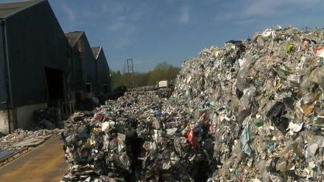 The centre stores thousands of tonnes of used plastics