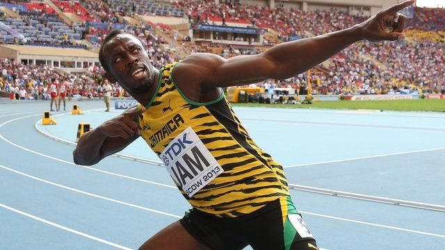 "Jamaicas Usain Bolt celebrates after winning the men""s 4x100 metres relay final at the 2013 IAAF World Championships in Moscow on August 18, 2013."