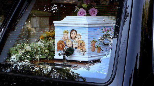 The coffin of Peaches Geldof, the daughter of Sir Bob Geldof, draws into the Davington Priory estate