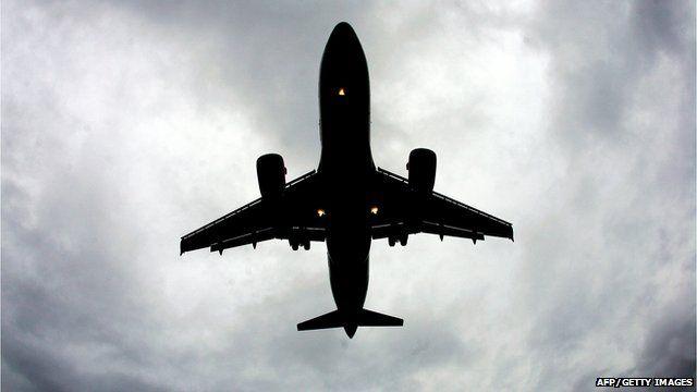 An aeroplane flying