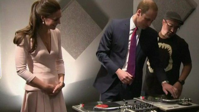 The Duke and Duchess of Cambridge spin DJ decks